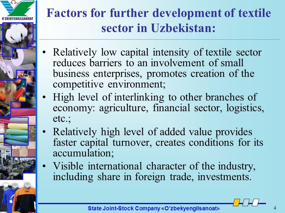 Factors for further development of textile sector in Uzbekistan:
