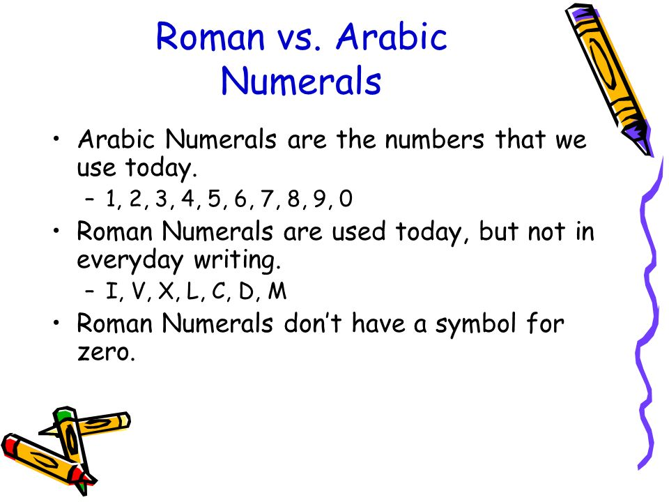 arabic numbers to roman numerals - 960×720