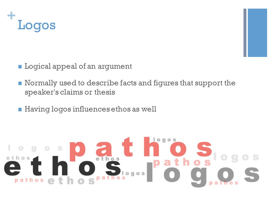 Logos Logical appeal of an argument