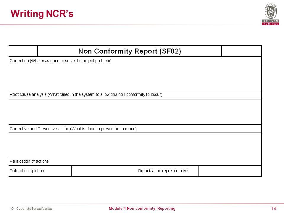 Non Conformity Reporting