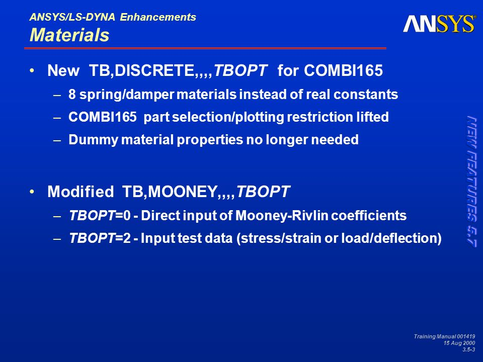 3 5 ANSYS/LS-DYNA Enhancements - ppt download