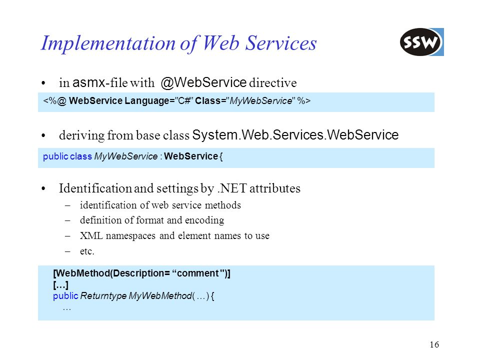 Implementation of Web Services