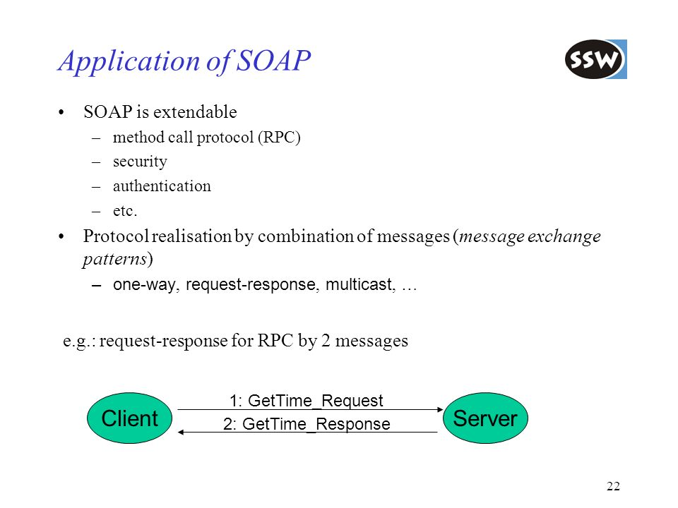 Application of SOAP Client Server SOAP is extendable