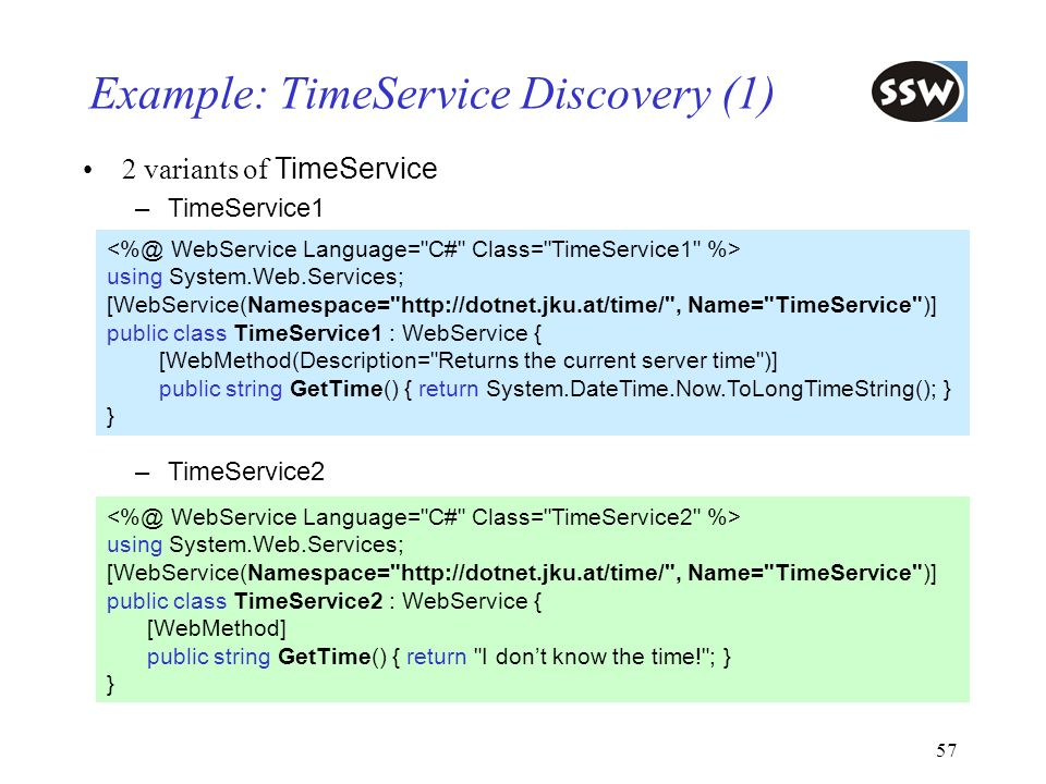 Example: TimeService Discovery (1)