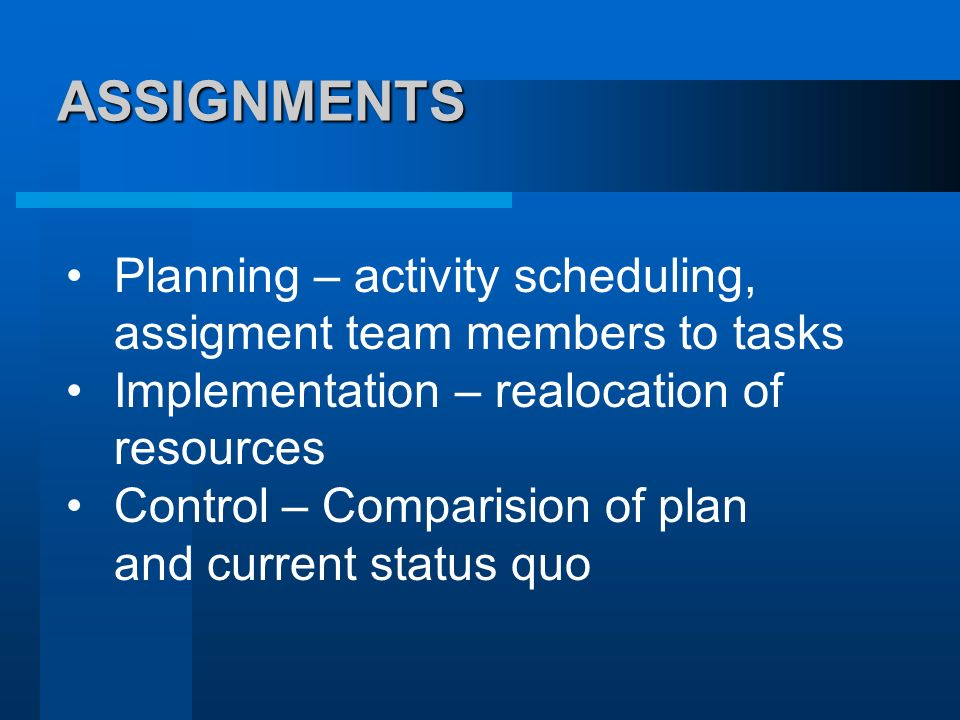 ASSIGNMENTS Planning – activity scheduling, assigment team members to tasks. Implementation – realocation of resources.