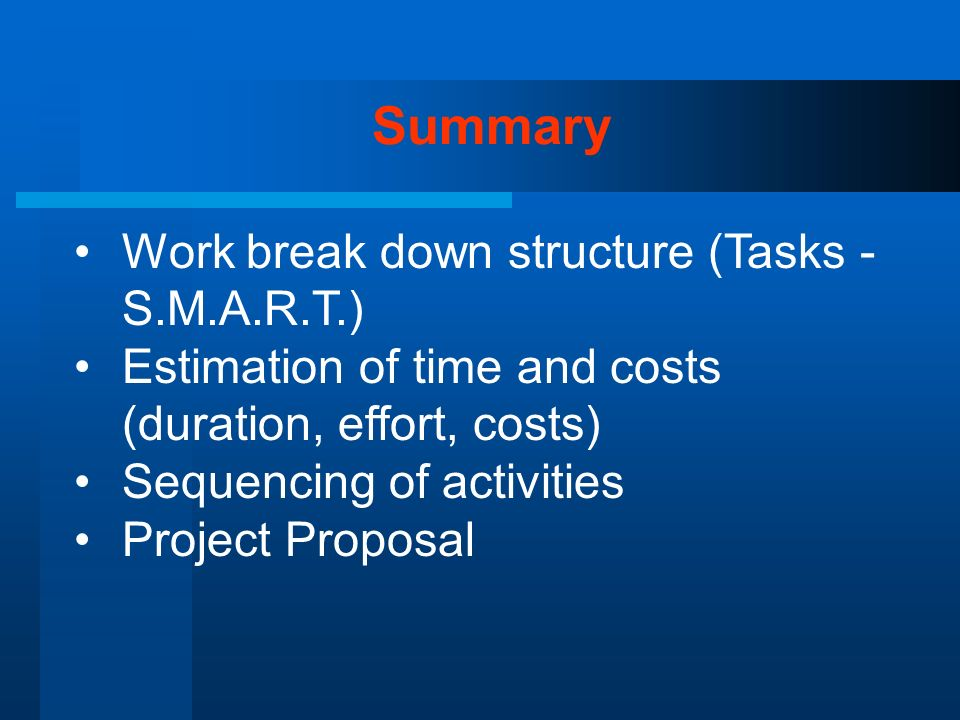 Summary Work break down structure (Tasks - S.M.A.R.T.)