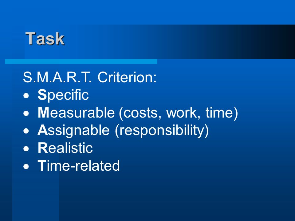Task S.M.A.R.T. Criterion: Specific Measurable (costs, work, time)