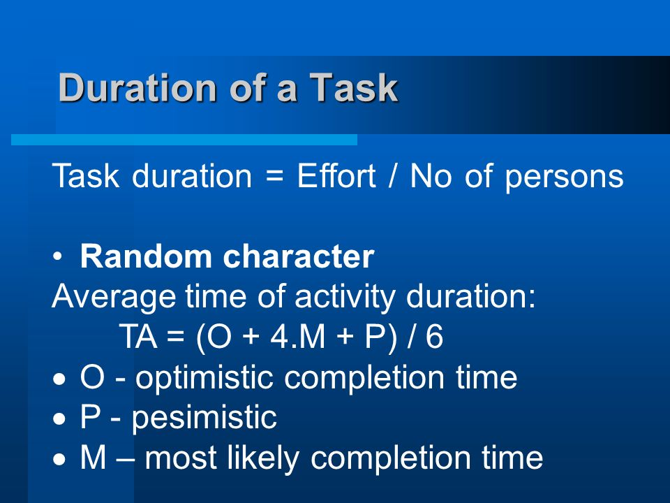 Duration of a Task Task duration = Effort / No of persons