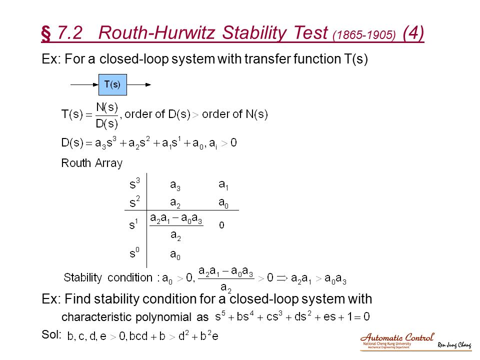 § 7.2 Routh-Hurwitz Stability Test ( ) (4)