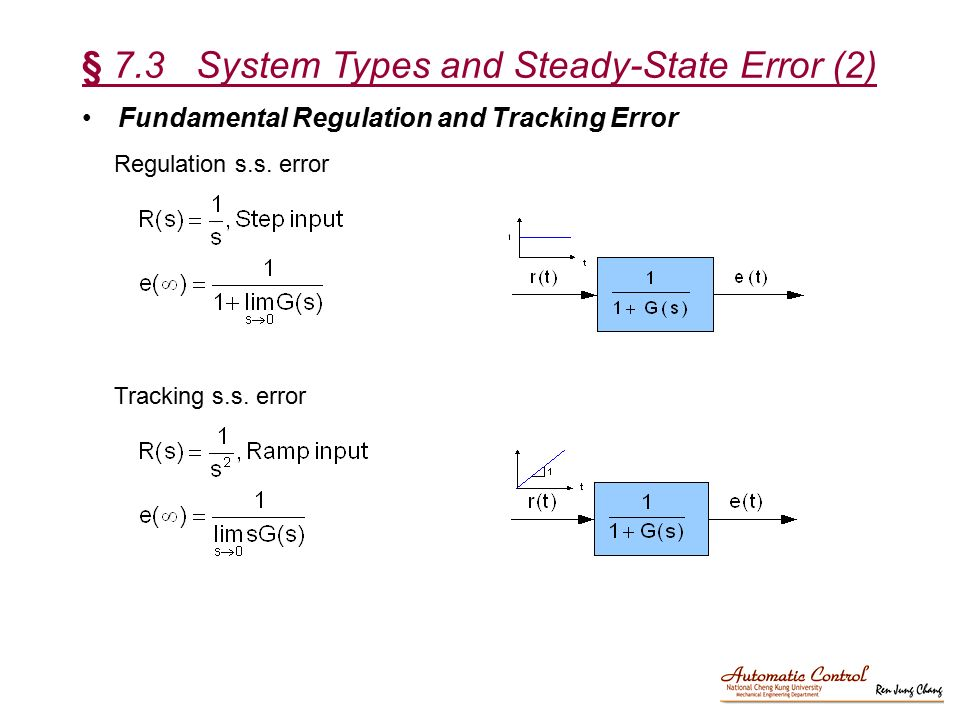 § 7.3 System Types and Steady-State Error (2)