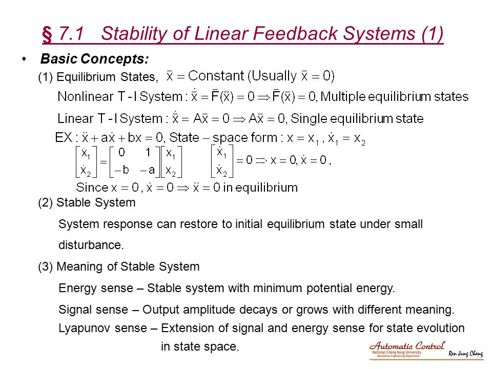 § 7.1 Stability of Linear Feedback Systems (1)