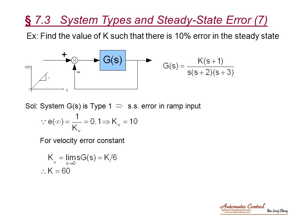§ 7.3 System Types and Steady-State Error (7)