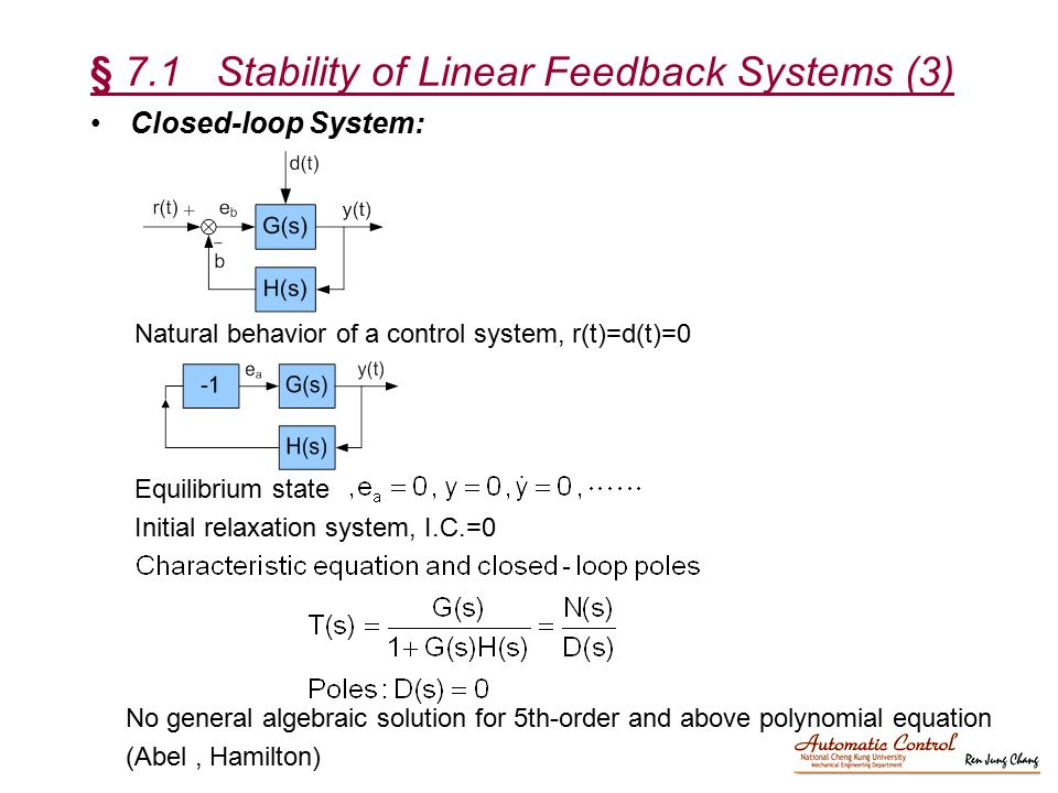 § 7.1 Stability of Linear Feedback Systems (3)