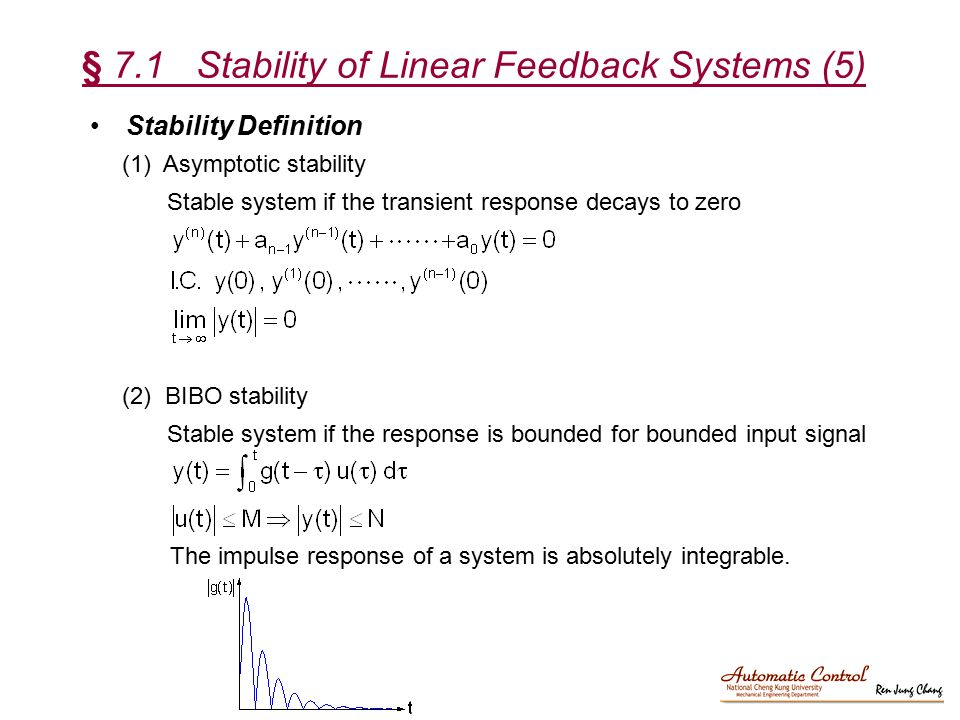 § 7.1 Stability of Linear Feedback Systems (5)