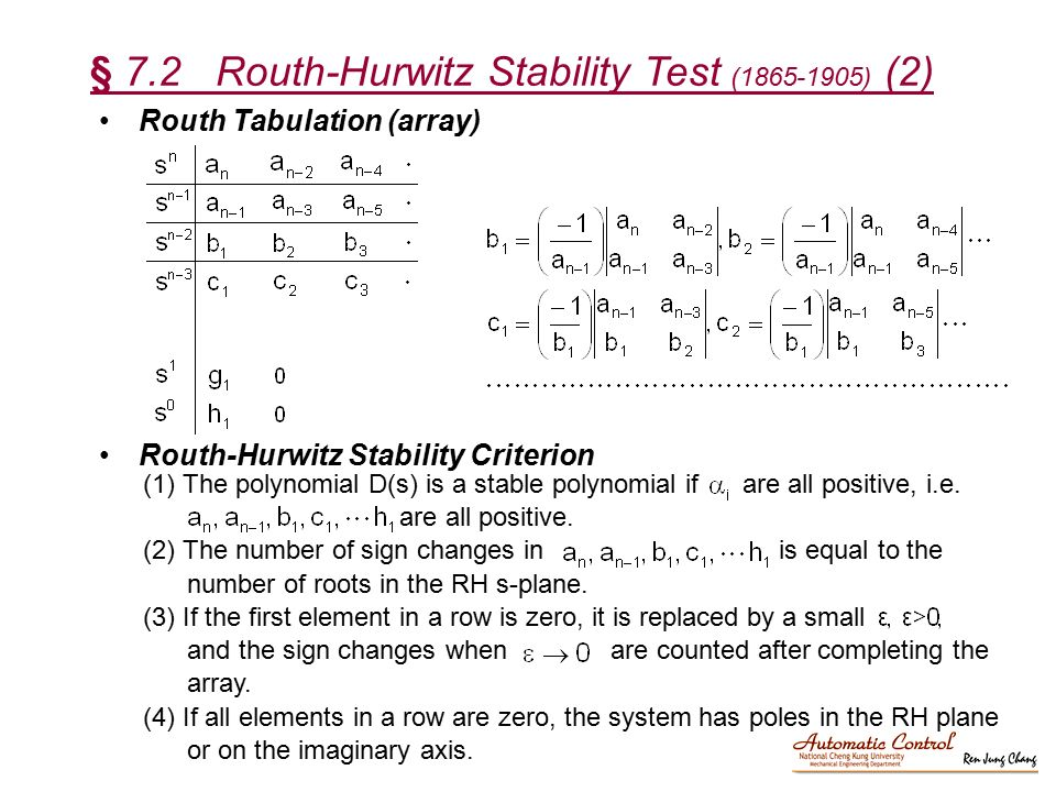 § 7.2 Routh-Hurwitz Stability Test ( ) (2)