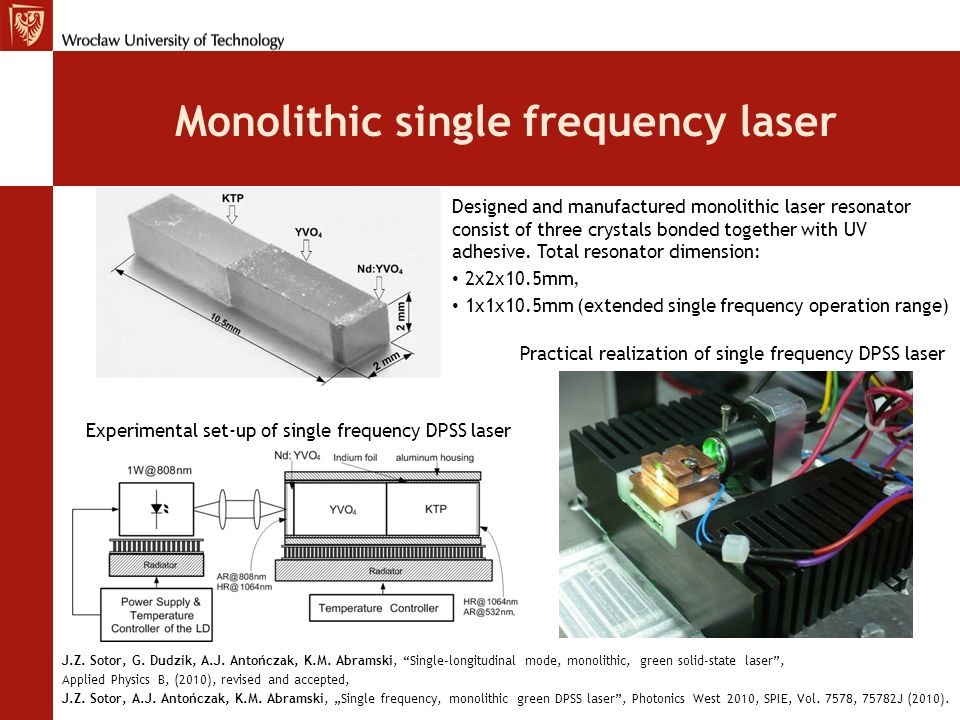 Monolithic single frequency laser