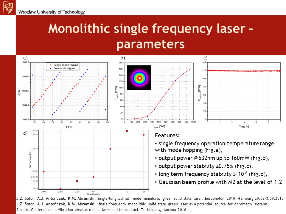 Monolithic single frequency laser – parameters