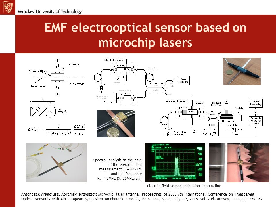 EMF electrooptical sensor based on microchip lasers
