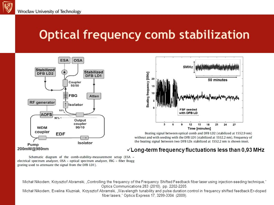 Optical frequency comb stabilization