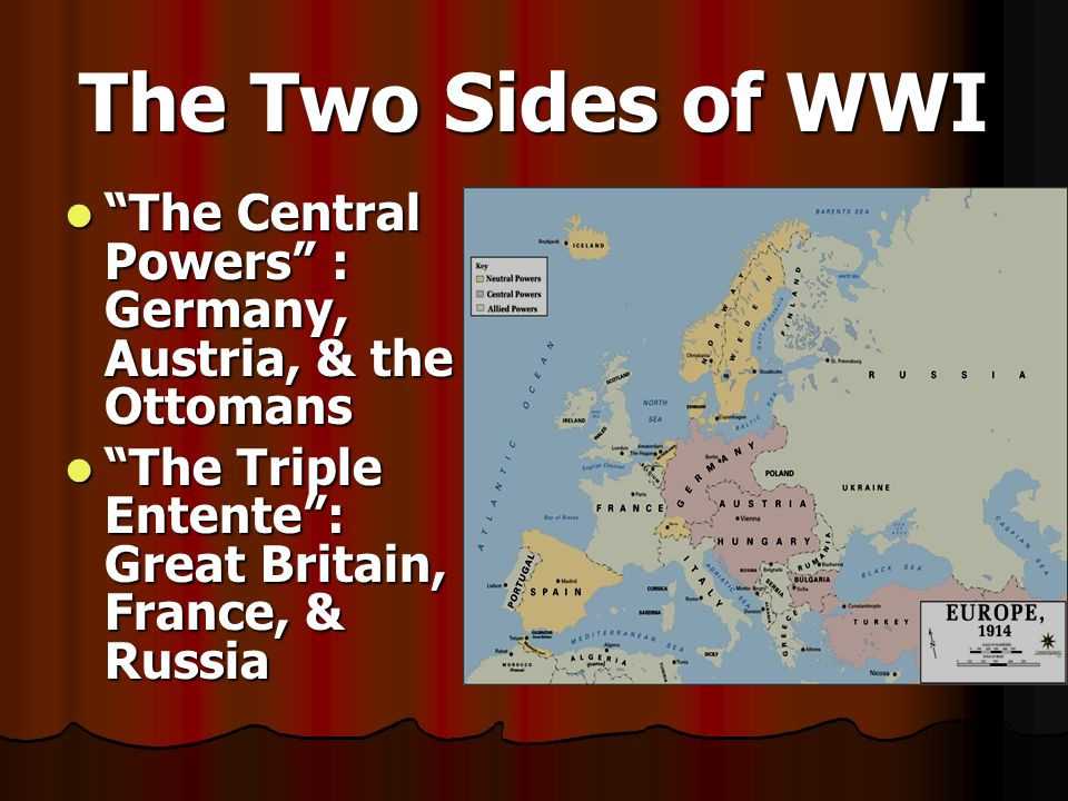 The Two Sides of WWI The Central Powers : Germany, Austria, & the Ottomans.