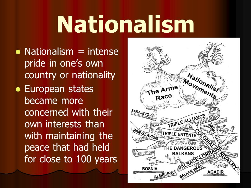 Nationalism Nationalism = intense pride in one's own country or nationality.