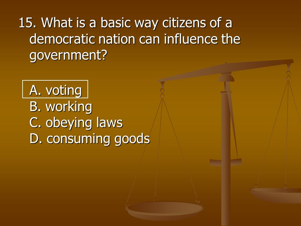 15. What is a basic way citizens of a democratic nation can influence the government