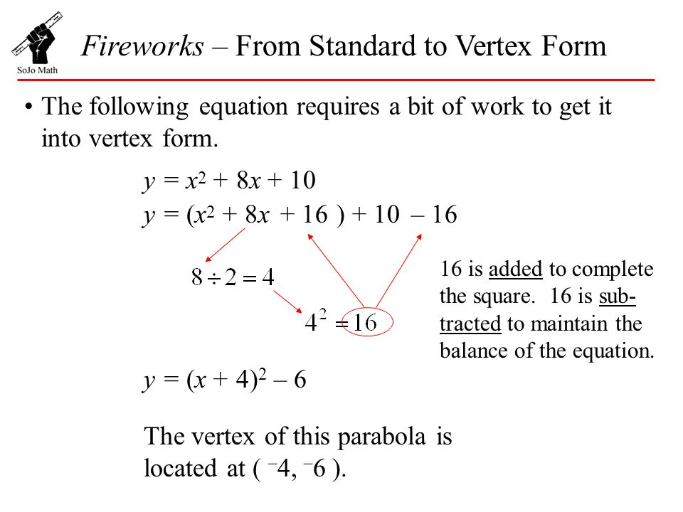 Fireworks From Standard To Vertex Form Ppt Video Online Download