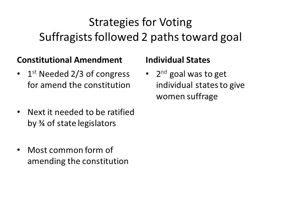 Strategies for Voting Suffragists followed 2 paths toward goal