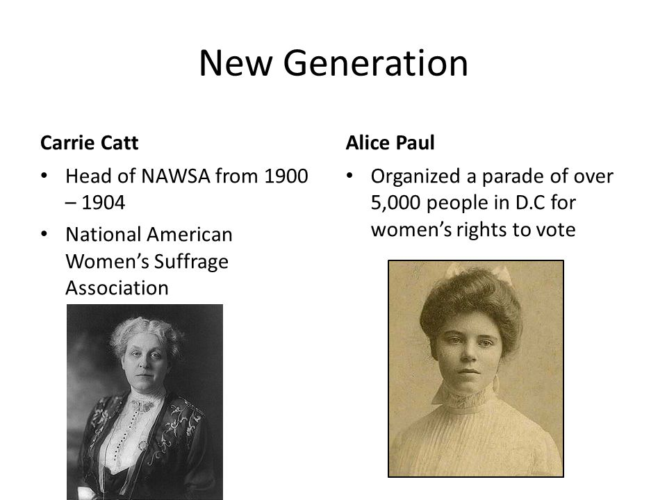 New Generation Carrie Catt Alice Paul Head of NAWSA from 1900 – 1904