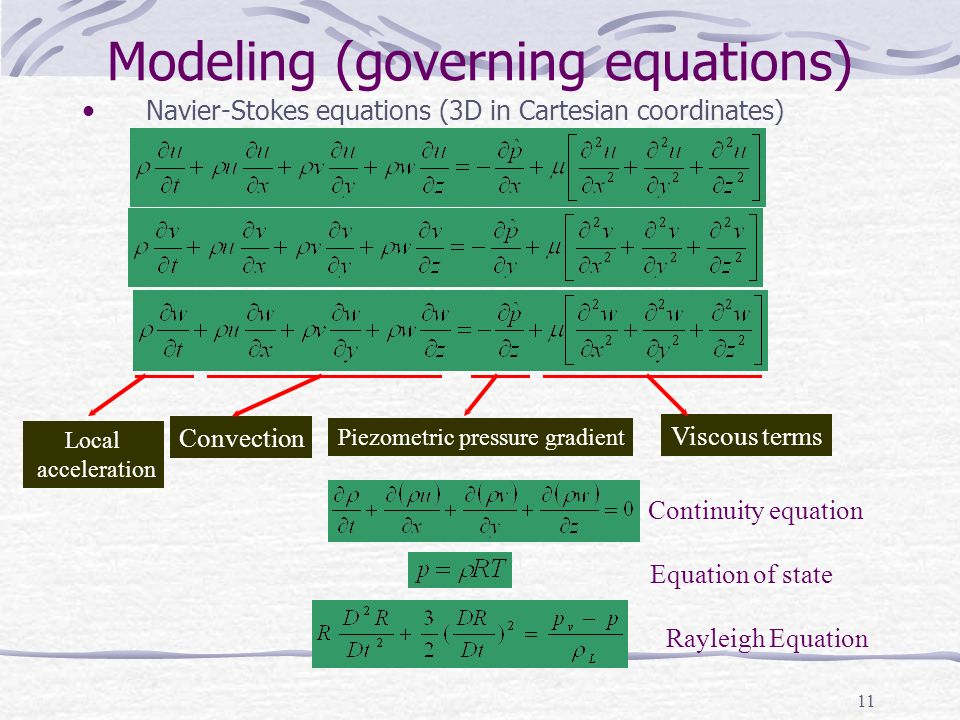 Modeling (governing equations)