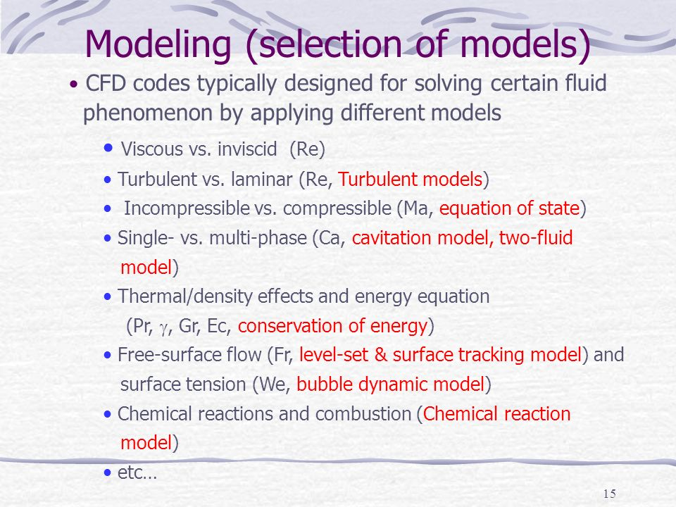 Modeling (selection of models)