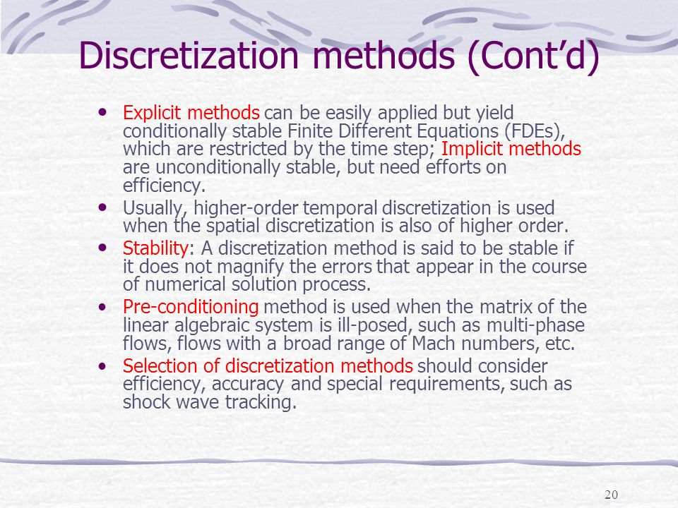 Discretization methods (Cont'd)