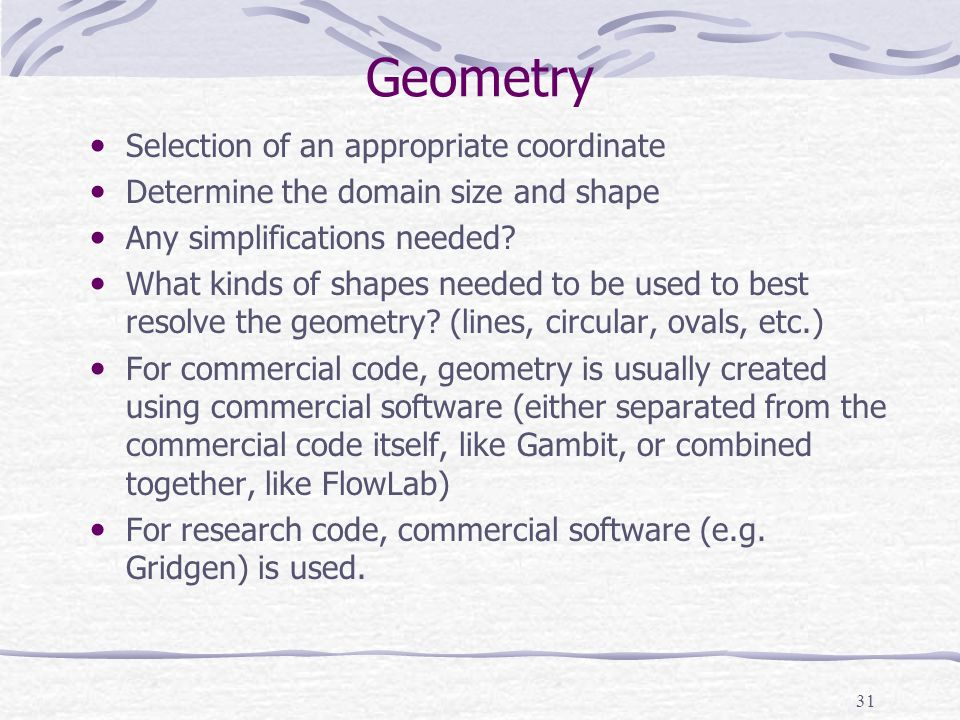 Geometry Selection of an appropriate coordinate