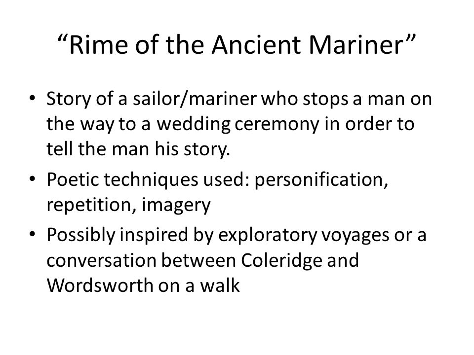 determining whether the rime of the ancient mariner is a moral story or has a moral story to it The rime of the ancient mariner relates the events experienced by a mariner who has returned from a long sea voyage the mariner stops a man who is on the way to a wedding ceremony and begins to recite a story.