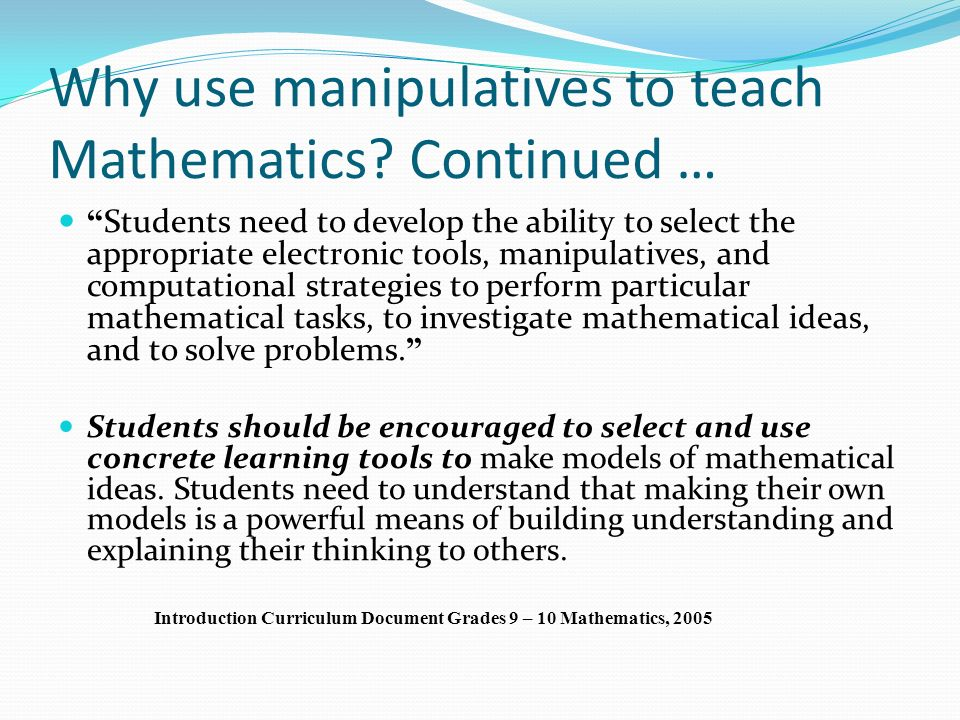 Effective Use Of Manipulatives Ppt Video Online Download