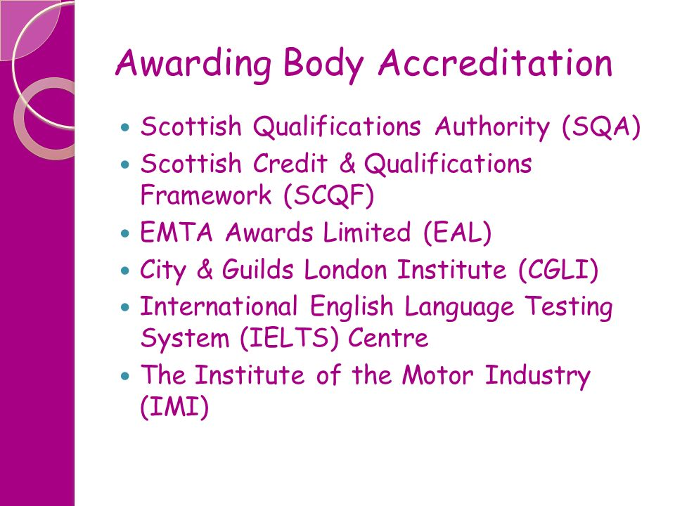 Awarding Body Accreditation