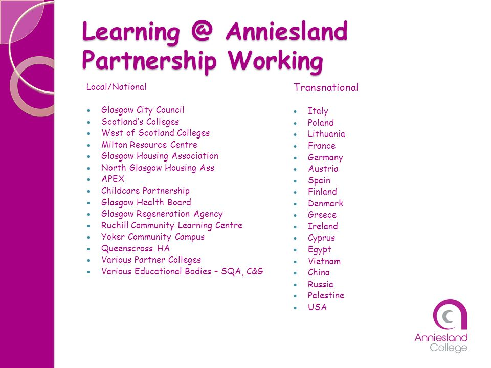 Learning @ Anniesland Partnership Working
