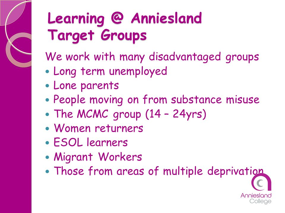 Learning @ Anniesland Target Groups