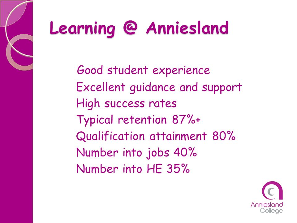 Learning @ Anniesland Good student experience