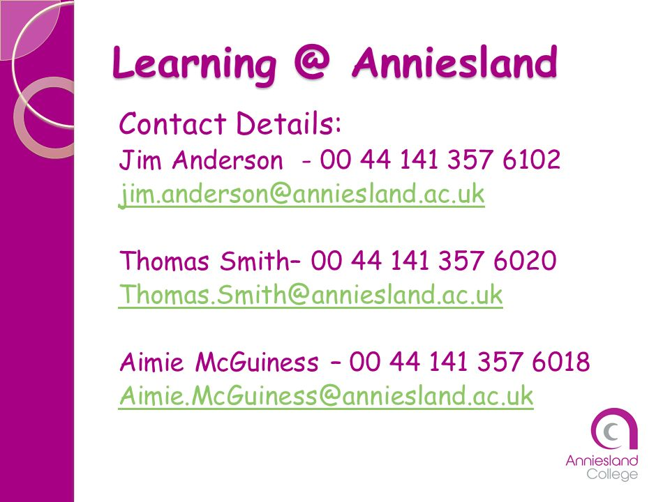 Learning @ Anniesland Contact Details: