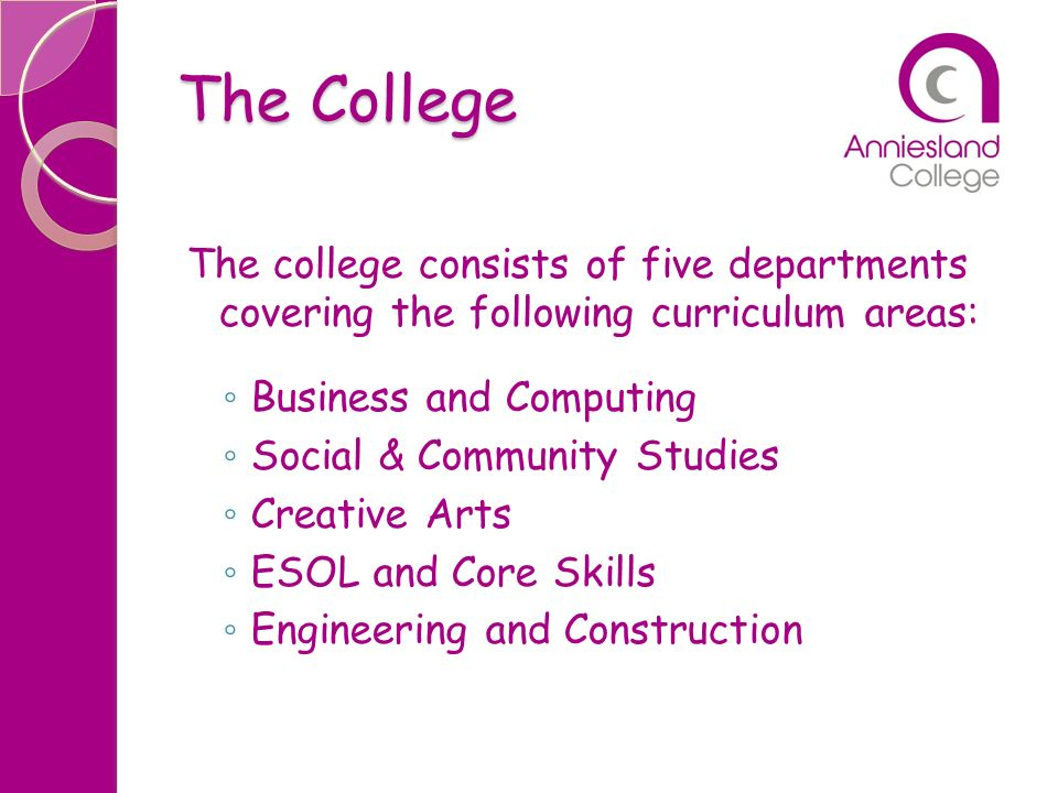 The College The college consists of five departments covering the following curriculum areas: Business and Computing.
