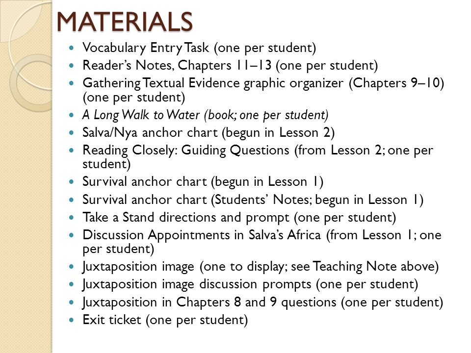 A Long Walk To Water Chapter Worksheets A Long Walk To Water