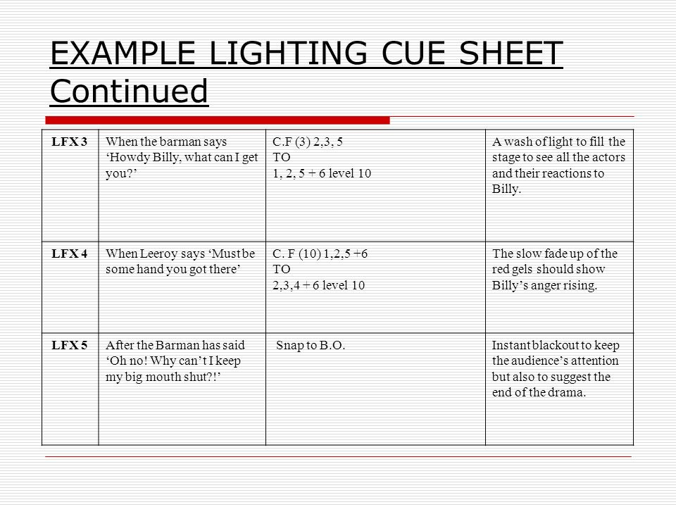Great Stage Lighting Cue Sheet Template Images Gallery >> Theatre ...