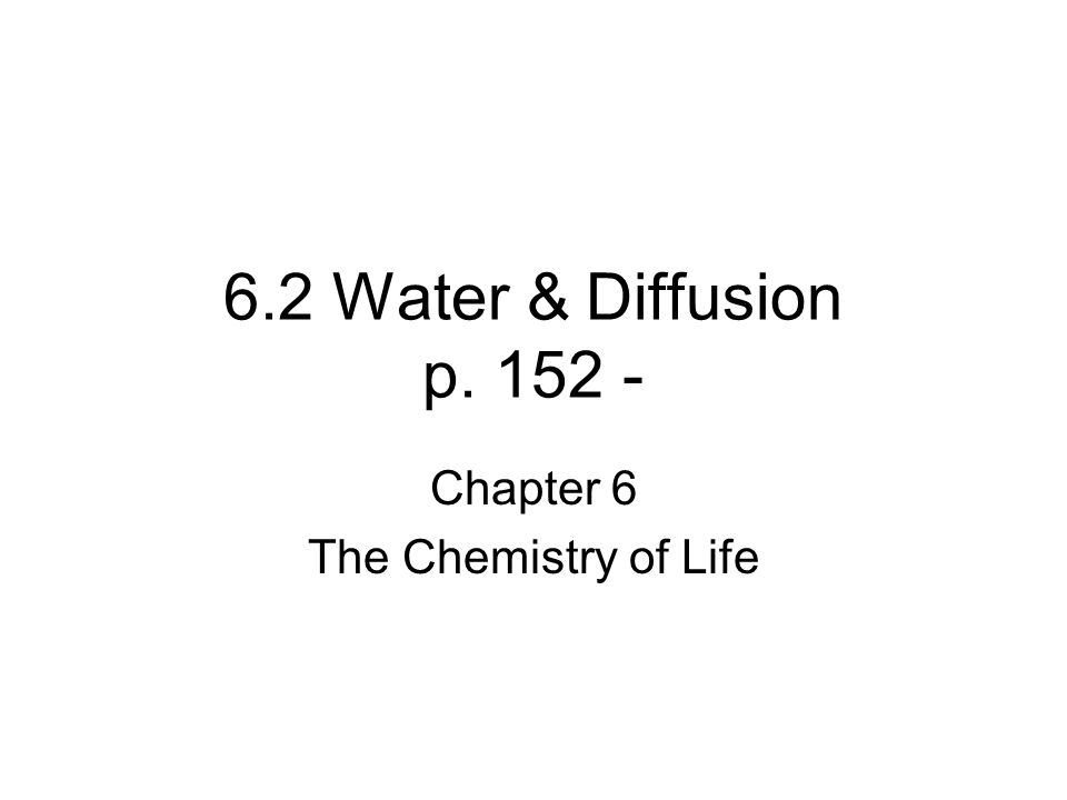 Chapter 6 The Chemistry Of Life Ppt Download