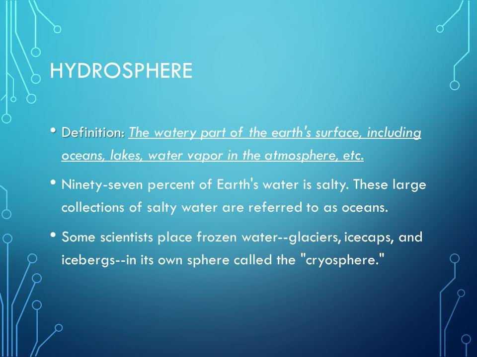 Hydrosphere Definition: The watery part of the earth s surface, including oceans, lakes, water vapor in the atmosphere, etc.