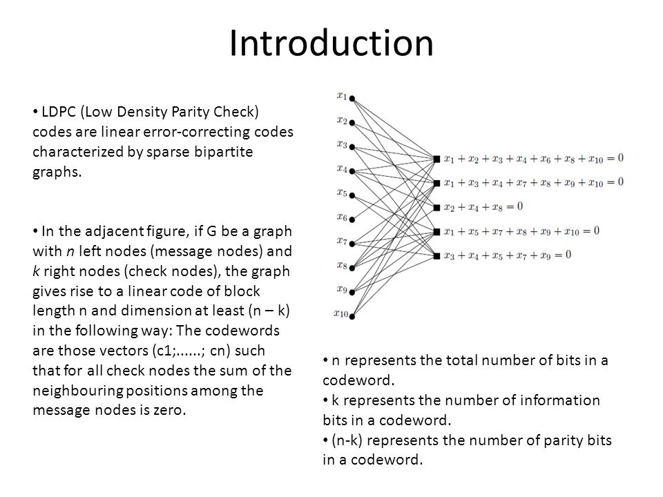 Introduction LDPC (Low Density Parity Check) codes are linear error-correcting codes characterized by sparse bipartite graphs.