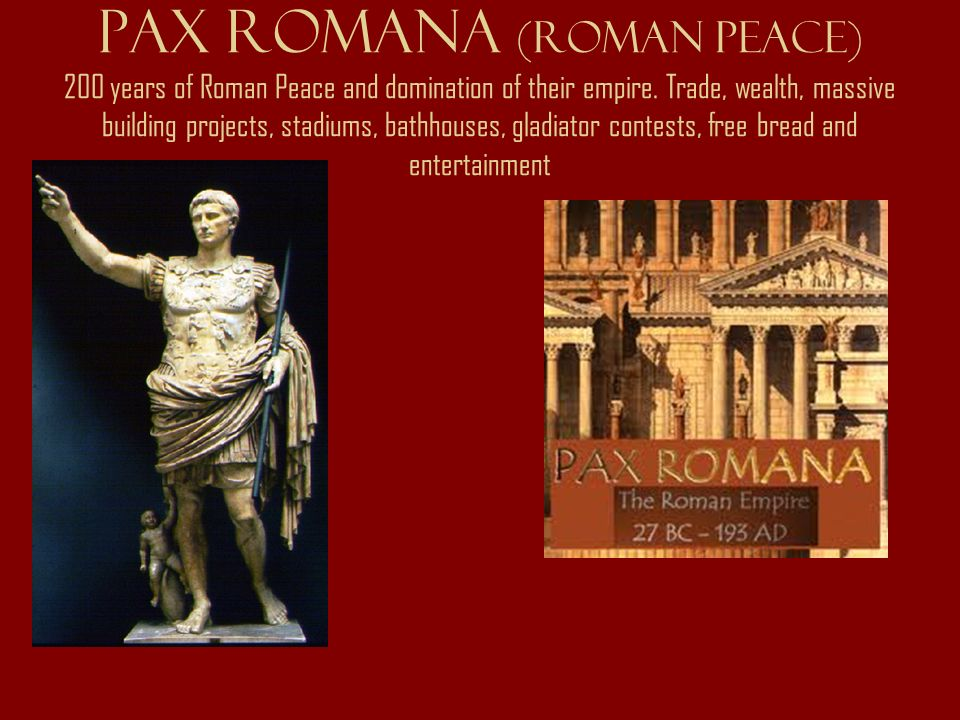 a history of the pax romana in the greek roman period The pax romana (ca 27 bc-180 ad) witnessed the apex of roman power, wealth, stability, and cultural achievement roman territory swelled to its maximum extent, reaching about half the land area of the modern united states.