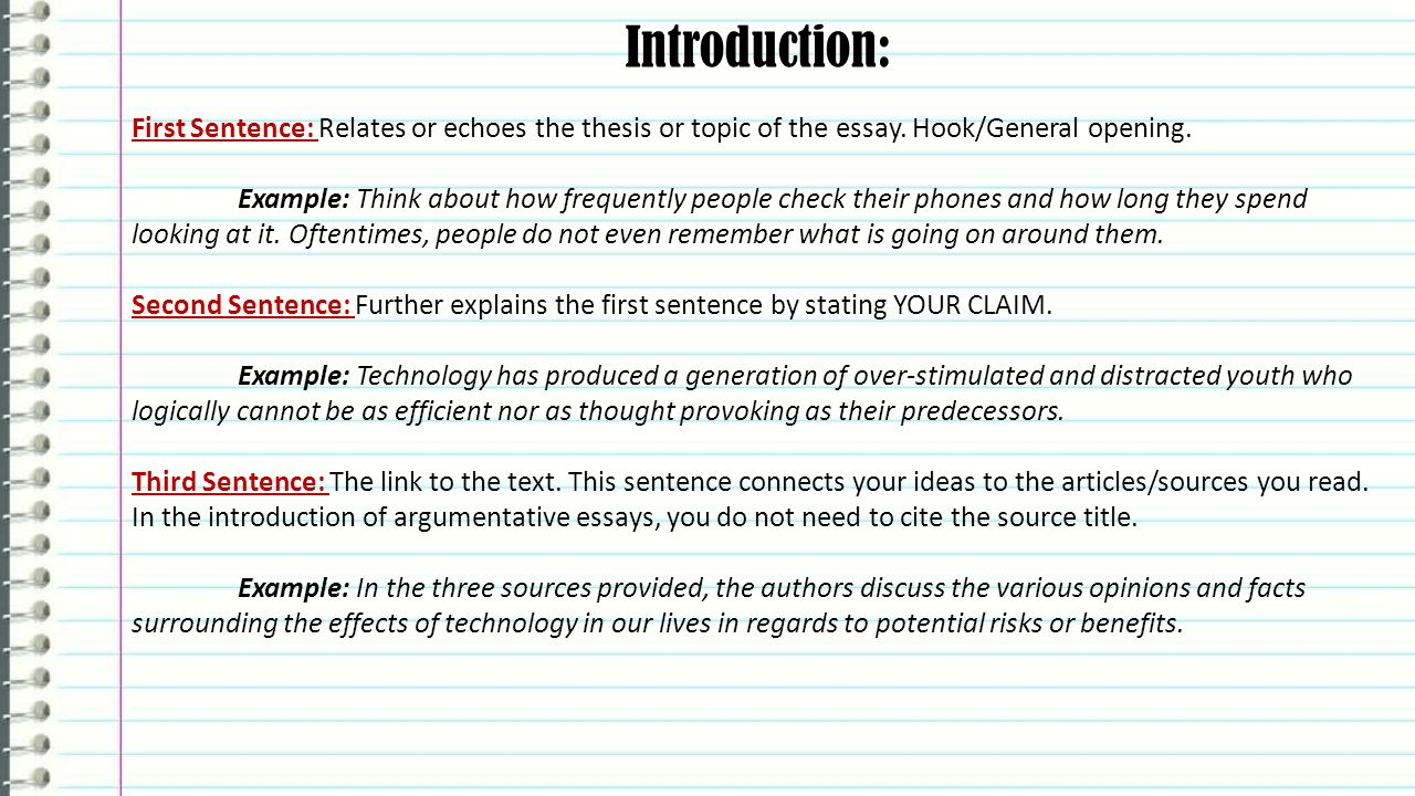 Fsa Writing Argumentative Essays English Language Arts  Ppt Video  Introduction First Sentence Relates Or Echoes The Thesis Or Topic Of The  Essay