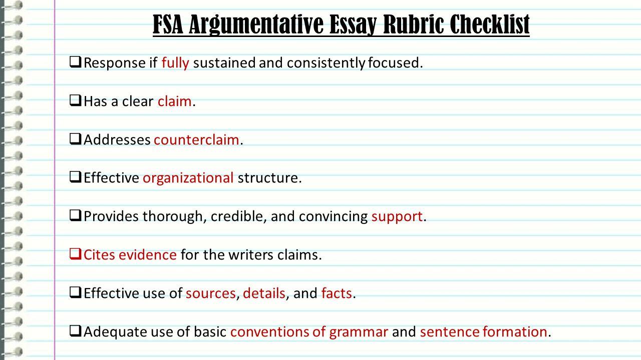 FSA Argumentative Essay Rubric Checklist