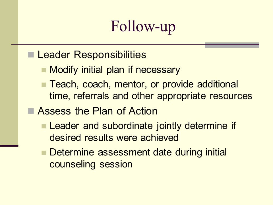 Follow Up Leader Responsibilities Assess The Plan Of Action